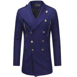 2018 Double-Breasted Large Lapel Men'S Casual Slim Long Woolen Trench Coat -