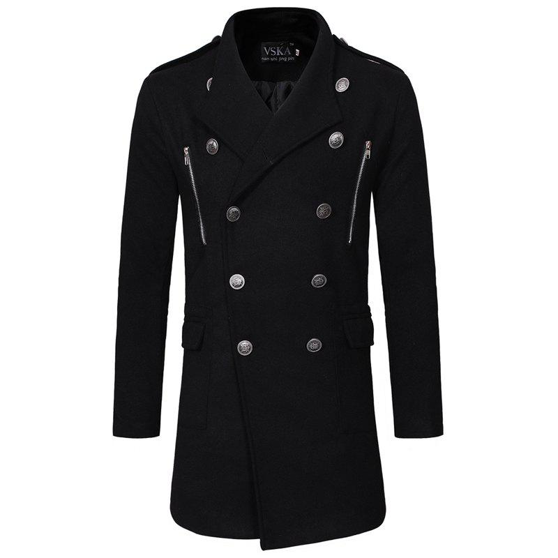 Online 2018 Double-Breasted Large Lapel Men'S Casual Slim Long Woolen Trench Coat