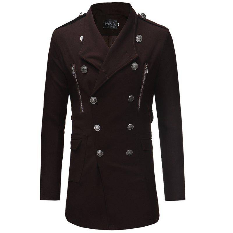 Chic 2018 Double-Breasted Large Lapel Men'S Casual Slim Long Woolen Trench Coat