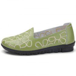 Embroidered Leather Flat Bottomed Peas Shoes Mama Shoes -