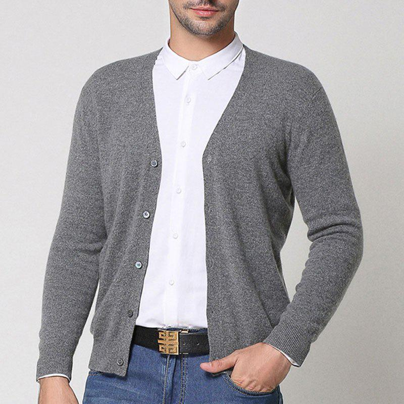 Outfit Autumn and Winter Leisure Solid Color V-neck Men Sweater Coat Cultivate