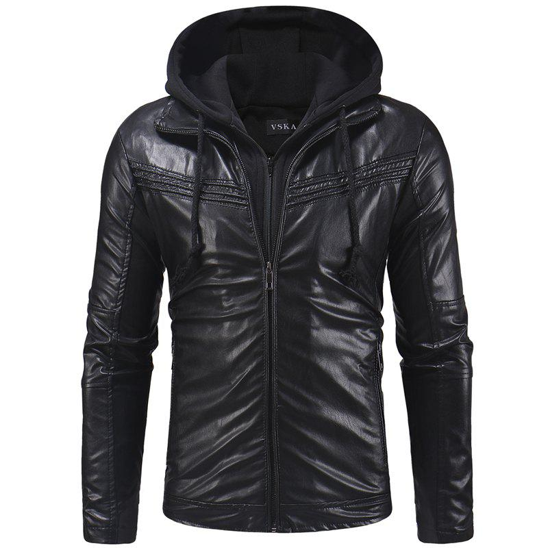Online Men's Casual Wear Zipper Hooded Leather Jacket Men's Coat