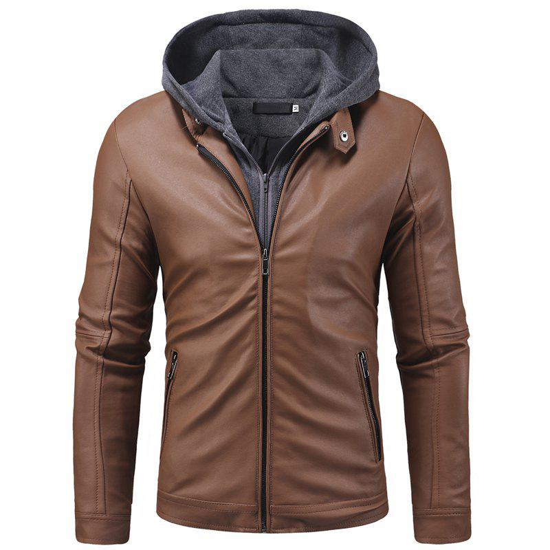 Outfits New Men's Casual Wear Zipper Hooded Leather Jacket  Men's Leather Coat