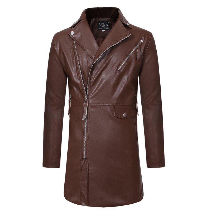 Online New  Zipper Large Lapel  Men's Casual Wear Long Leather Windbreaker  men's Coat