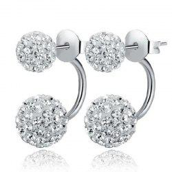 Women'S Minimalist Shiny Rhinestone Double Ball Stud Earrings -