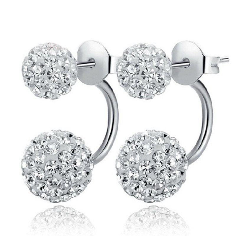Sale Women'S Minimalist Shiny Rhinestone Double Ball Stud Earrings