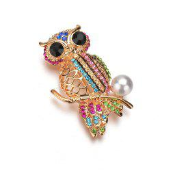 Female Fashion Cute Hollowed Out Color Diamond Inlaid Owl Brooch -