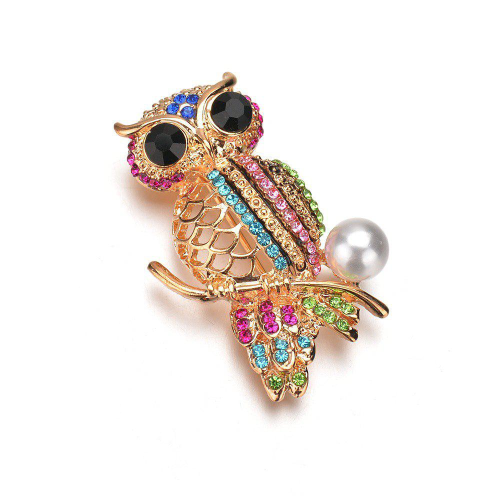 Outfits Female Fashion Cute Hollowed Out Color Diamond Inlaid Owl Brooch