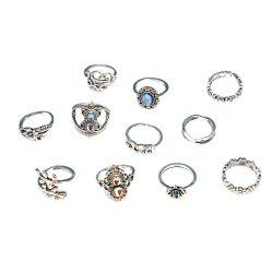Bohemian Retro Silver Elephant Lotus Suit Women'S Ring 11-PIECE Set -
