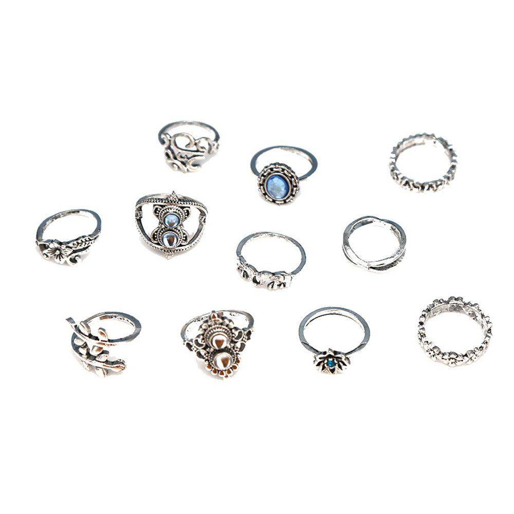 Latest Bohemian Retro Silver Elephant Lotus Suit Women'S Ring 11-PIECE Set