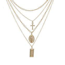 Women'S Four-Layer Necklace Cross Pendant Necklace Combination -