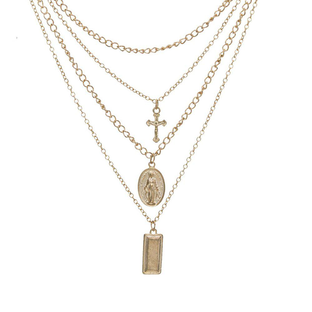 Sale Women'S Four-Layer Necklace Cross Pendant Necklace Combination