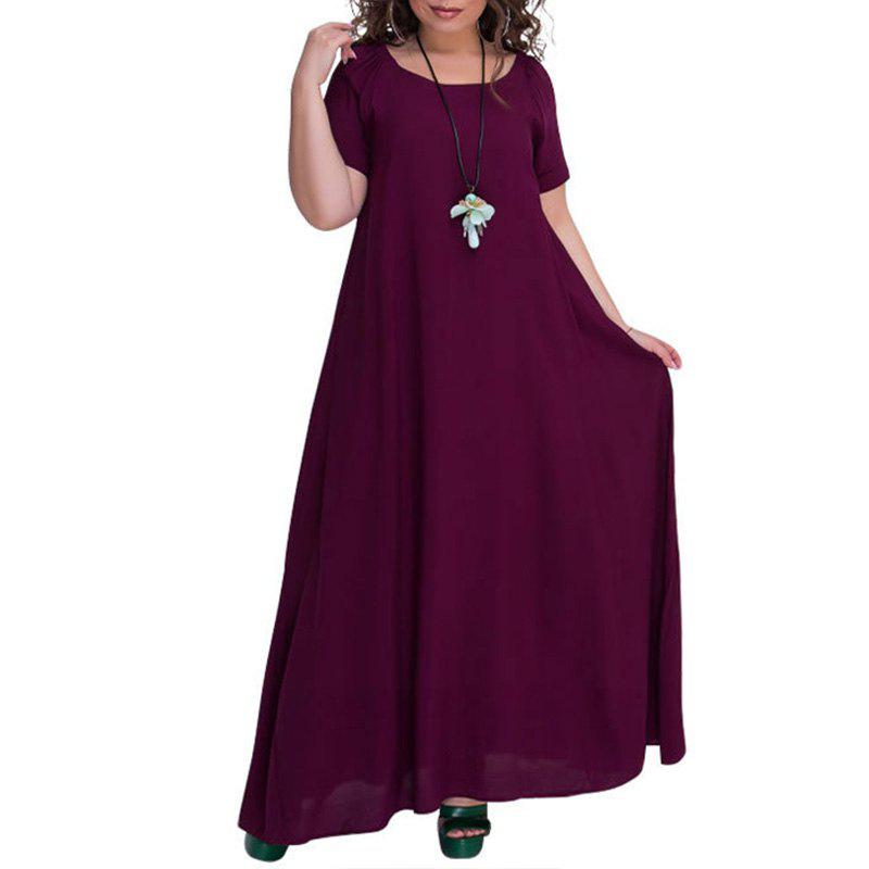 Unique New Plus Size Robe Solid Free Long Dress For Women Summer 2018 Big Size