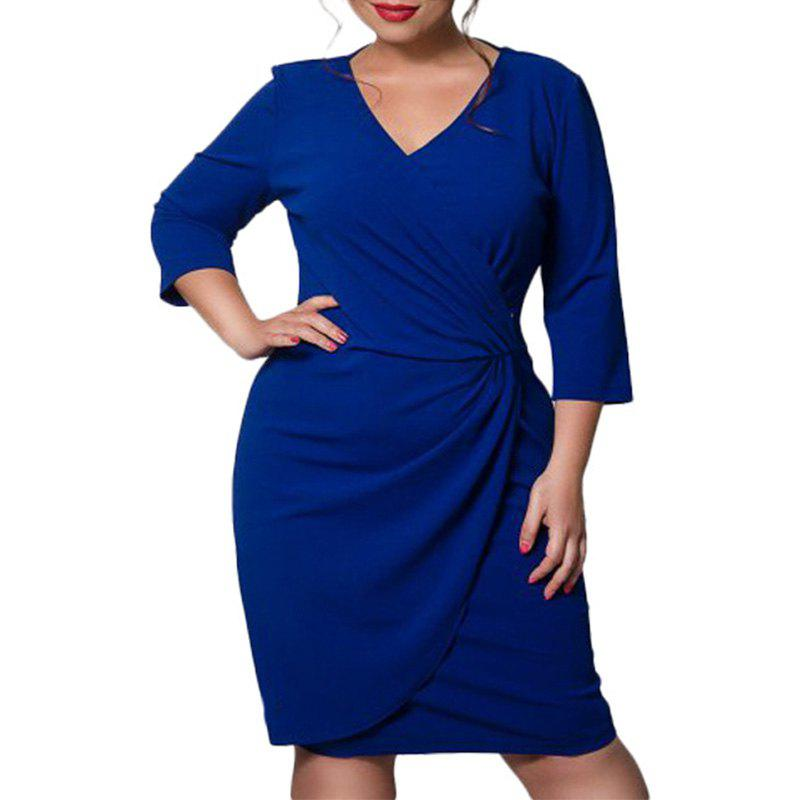 Unique 6XL Autumn Large Size Women Dress Three Quarter Thicken Blue Dress Deep V-Neck