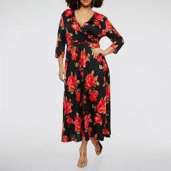 5XL New Fashion Women Summer Large Size Dress 2018 Deep V-Neck Sexy Floral -