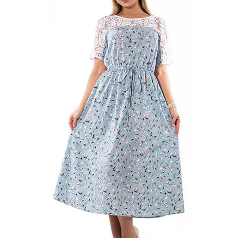 Buy 2018 Big Size Rose Robe Flower Print Long Dress Maxi Autumn Winter Female