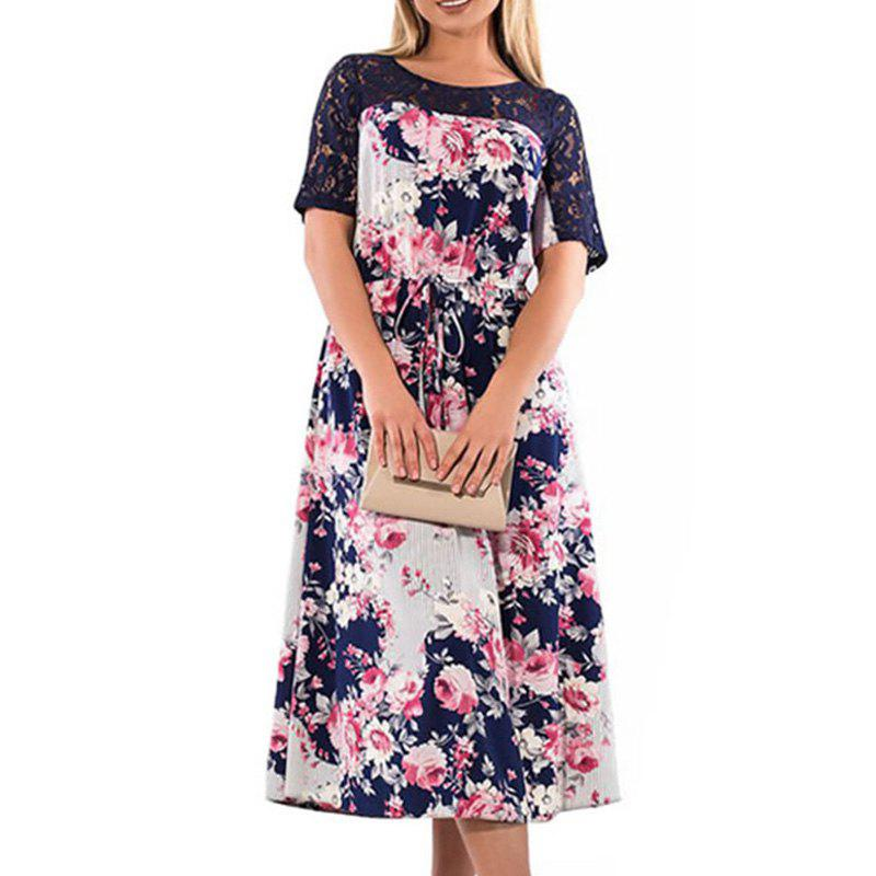 New 2018 Big Size Rose Flower Print Dress Maxi Autumn Winter Female