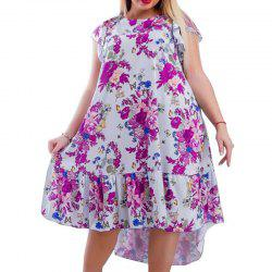 Summer Plus Size Women Dresses Floral Print Casual Ruffles Big Size Clothing -