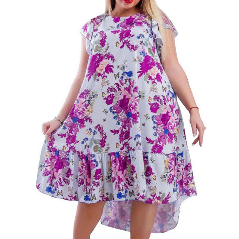 Cheap Summer Plus Size Women Dresses Floral Print Casual Ruffles Big Size Clothing