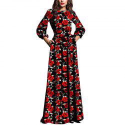 Evening Maxi Black Dresses Women Autumn Winter Dress Elegant Floral -