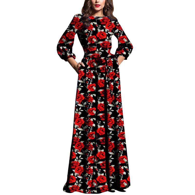 Store Evening Maxi Black Dresses Women Autumn Winter Dress Elegant Floral