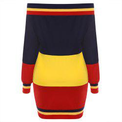 Autumn New Multi-Color Stitching with Ribbed Sweater Dress -