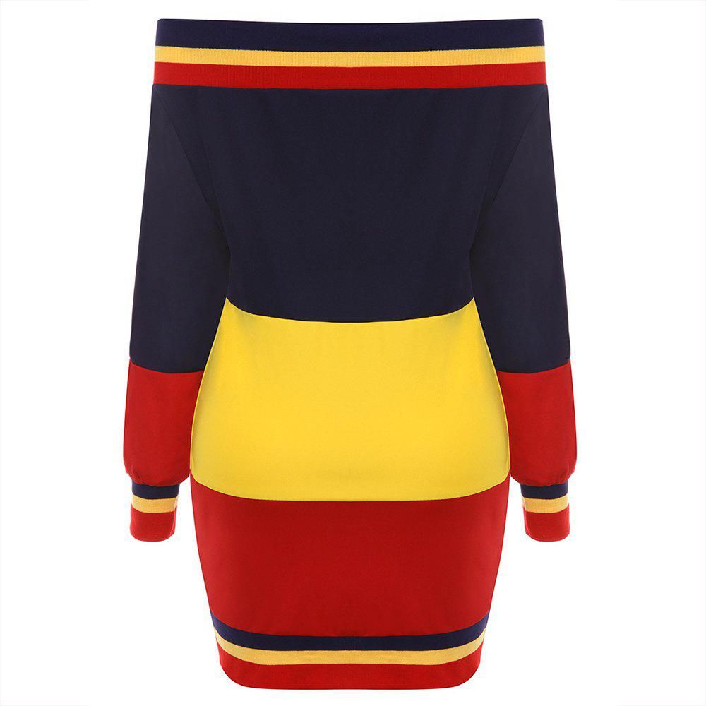 Discount Autumn New Multi-Color Stitching with Ribbed Sweater Dress