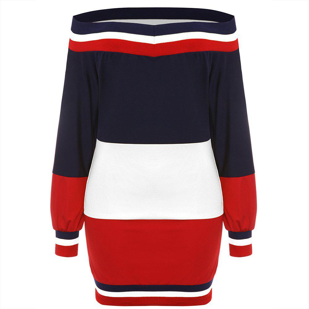 Latest Autumn New Multi-Color Stitching with Ribbed Sweater Dress