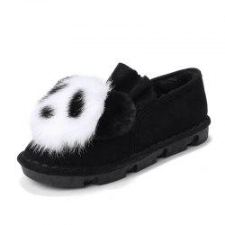 Fur Mules Shoes Women Home Slippers Panda Indoor Casual Loafers -