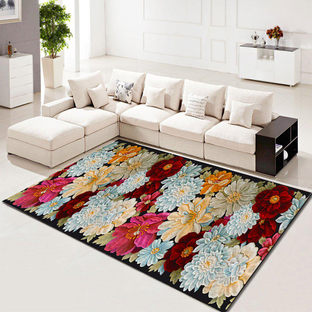 Best Living Room Rug Beautiful Flower Pattern Washable Rectangle Carpet
