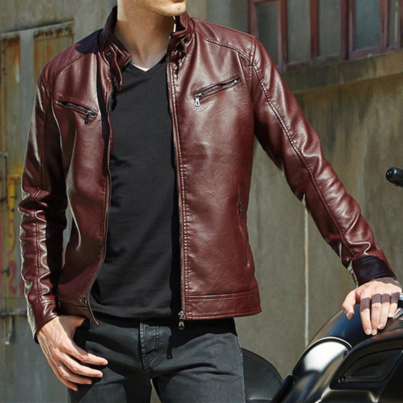 Store Men'S Motorcycle Youth Jacket Men'S Casual PU Leather Jacket
