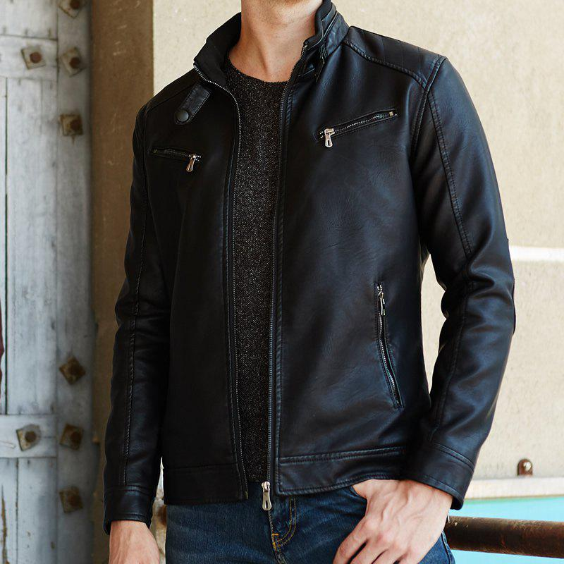 Chic Men'S Motorcycle Youth Jacket Men'S Casual PU Leather Jacket