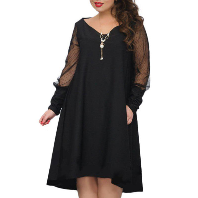 Discount Solid Color Mesh Hollow Out Long Sleeve Dress