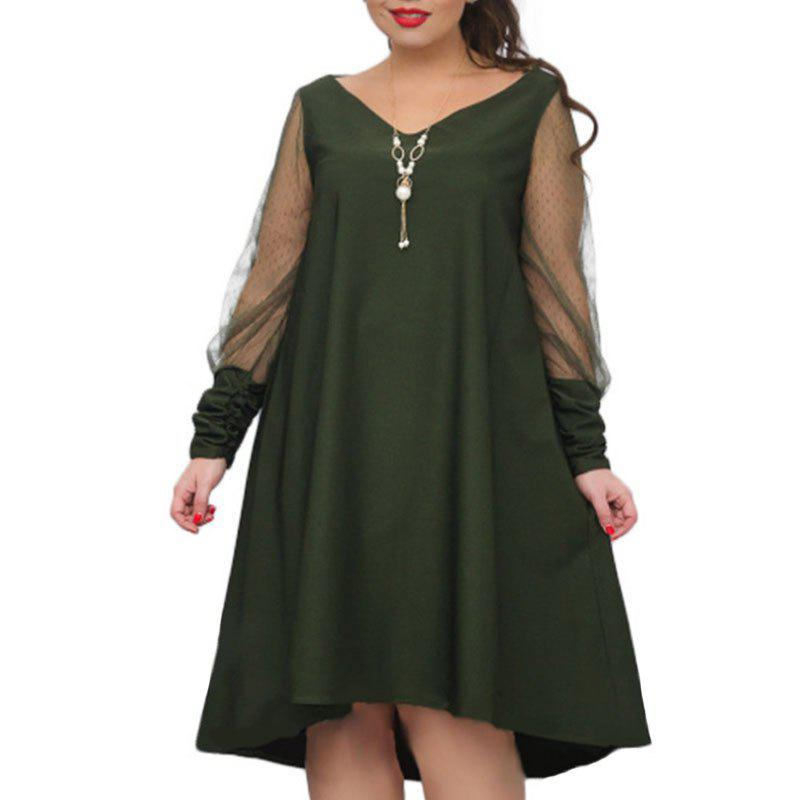 Outfit Solid Color Mesh Hollow Out Long Sleeve Dress