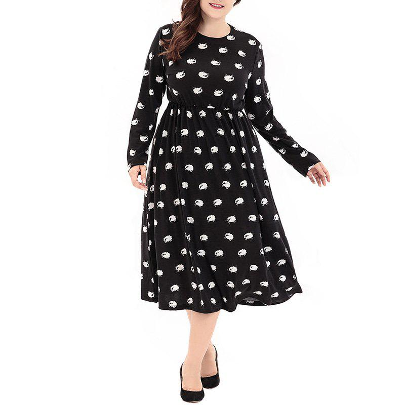 Discount Round Collar Long Sleeve Printing Knitted Dress