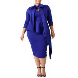 Solid Color High Collar bowknot 3/4 Length Sleeve Party Dress -