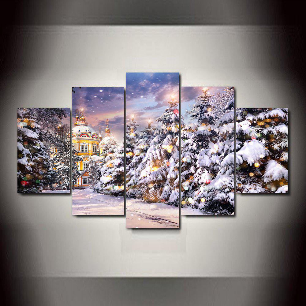 Sale Christmas Tree  Snow Castle Frameless Printed Canvas Art Print 5PCS