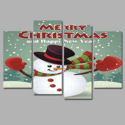 Dancing Snowman Frameless Printed Canvas Art Print 5PCS -