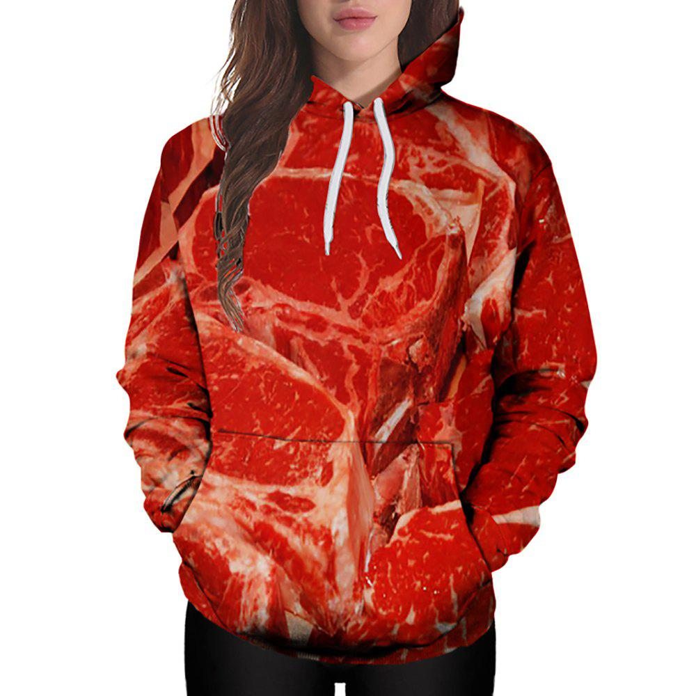 Chic 3D Winter Sports Fashion Lean Meat Print Lady Hoodie