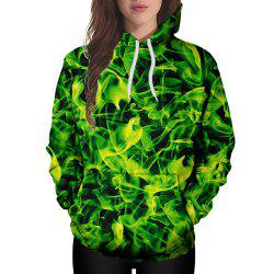 3D Winter Sports Yellow Green Silk Plate Printing Lady Hoodie -