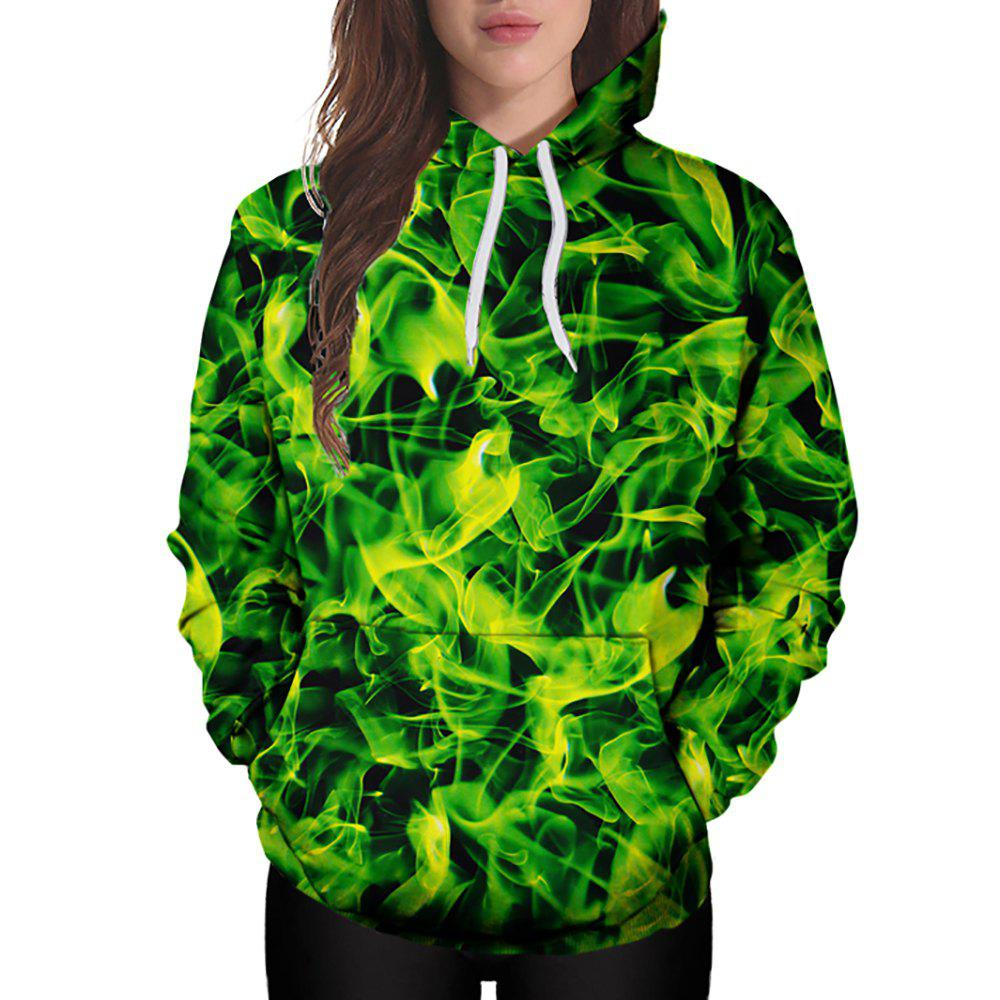Affordable 3D Winter Sports Yellow Green Silk Plate Printing Lady Hoodie