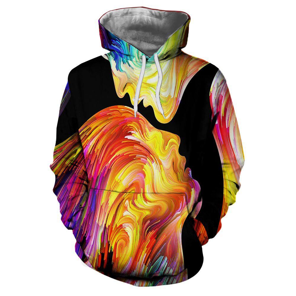 d78ddf4596e7 Fancy 3D Fashion Painted Head Print Men s Large Pocket Pullover Hoodie  Sweater
