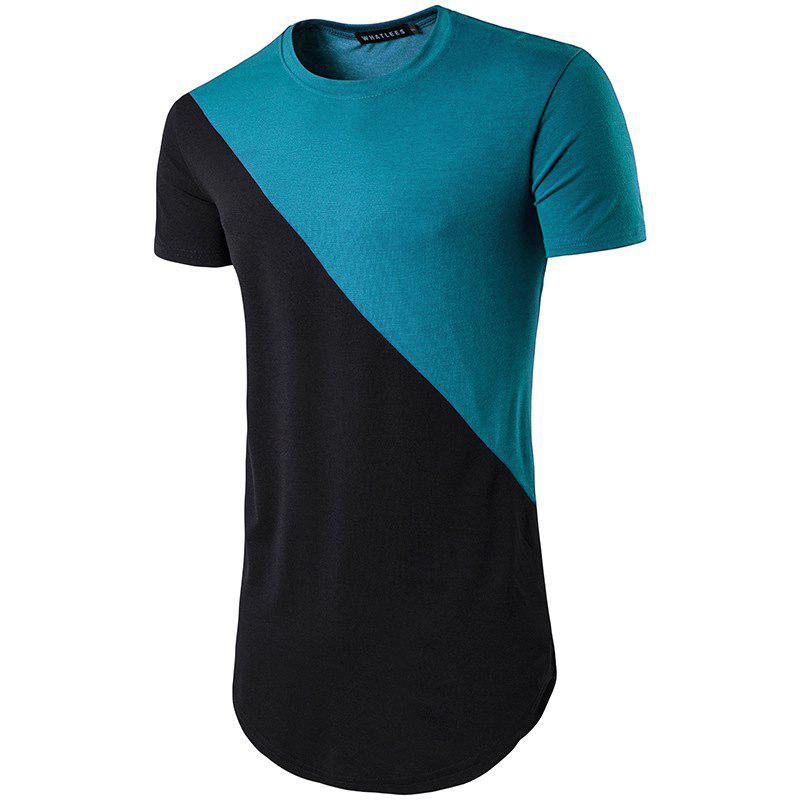 Fashion Short Sleeve Patchwork T-shirt Breathable Clothes Fitness With Irregular Neck