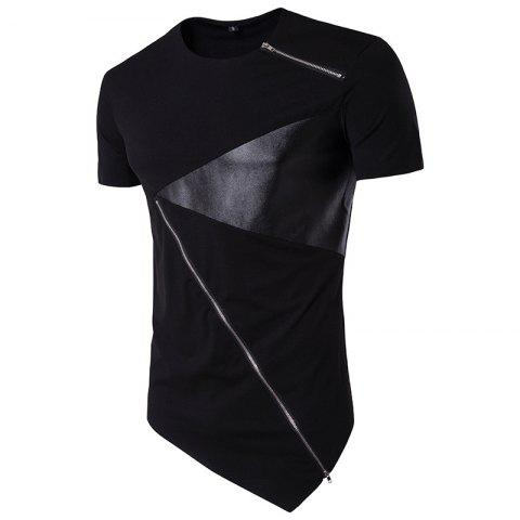 Hip Hop Tee Shirt Homme short Sleeve Leather Zipper Irregular Hem Male