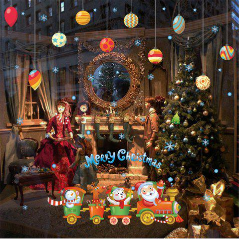Santa Claus Reindeer Train Color Drop Ball Can Remove Wall Stickers - MULTI-A - 24 X 36 INCH