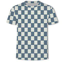 Men's New Striped Grid 3D Printed Short-Sleeved T-Shirt -