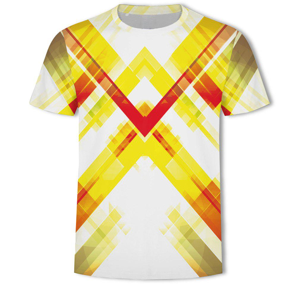 Outfits Men's New Striped Grid 3D Printed Short-Sleeved T-Shirt