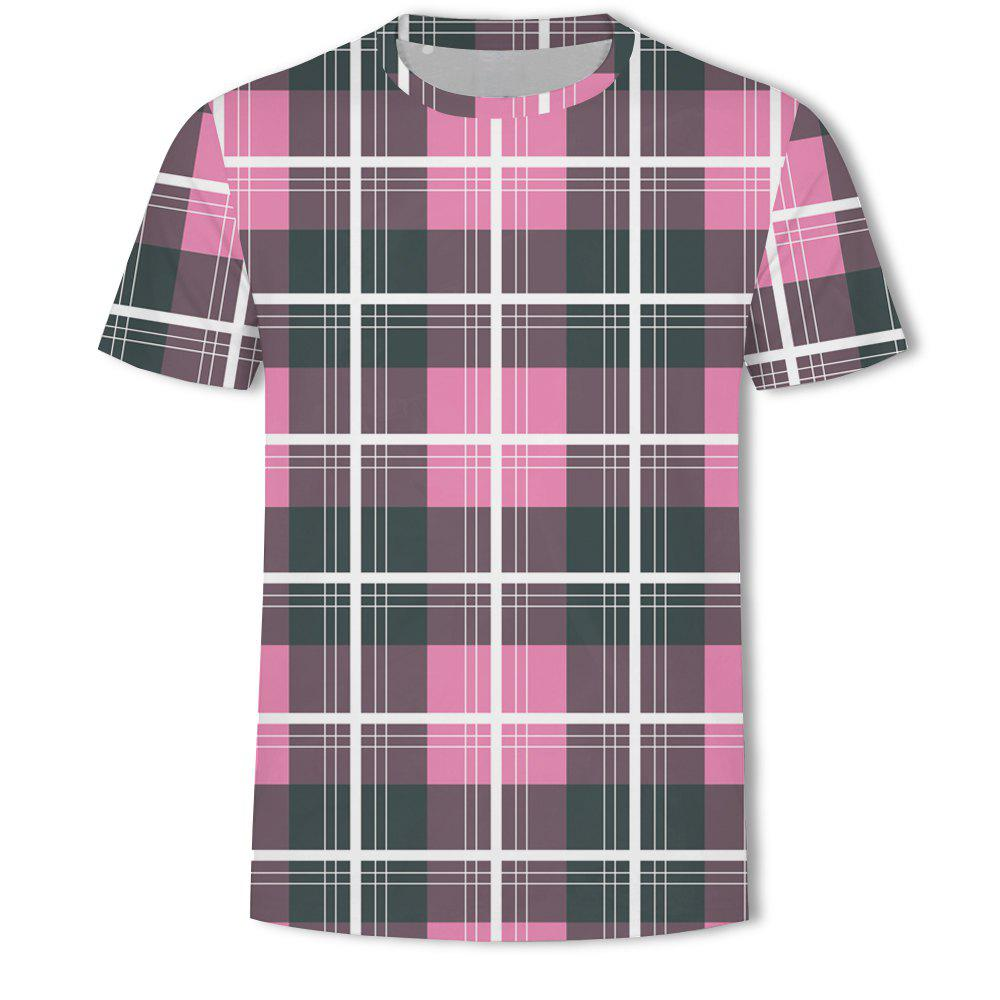 Latest Men's New Striped Grid 3D Printed Short-Sleeved T-Shirt