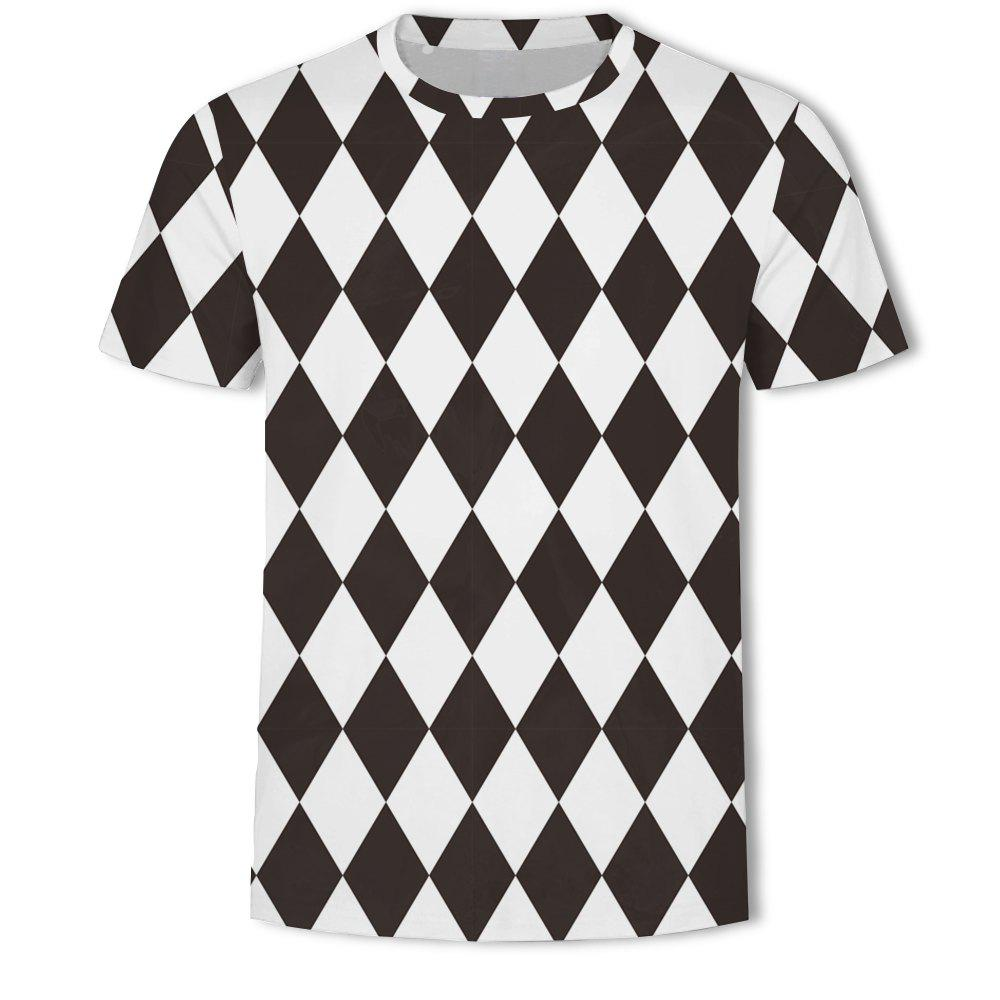 New Men's New Striped Grid 3D Printed Short-Sleeved T-Shirt