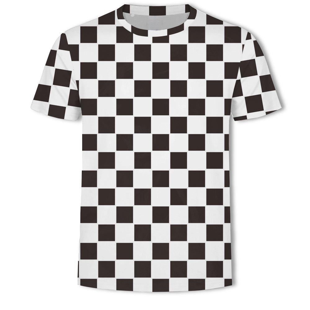 Store Men's New Striped Grid 3D Printed Short-Sleeved T-Shirt